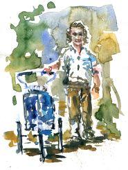Jean Beliveau hiker - Watercolor people portrait by Frits Ahlefeldt