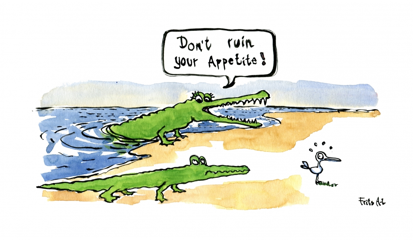 Drawing: Crocodile mum and kid looking at little bird, mum say, don't ruin your appetite