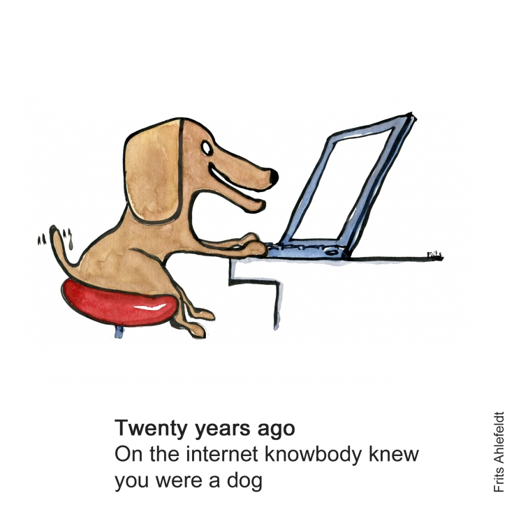 Drawing of a dog in front of a computer
