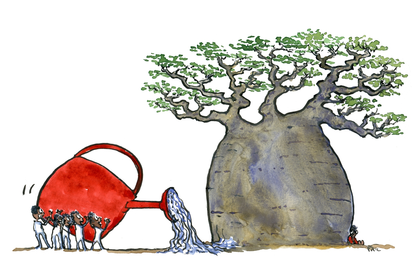 Large,ancient baobab tree and people watering it. Color illustration by Frits Ahlefeldt