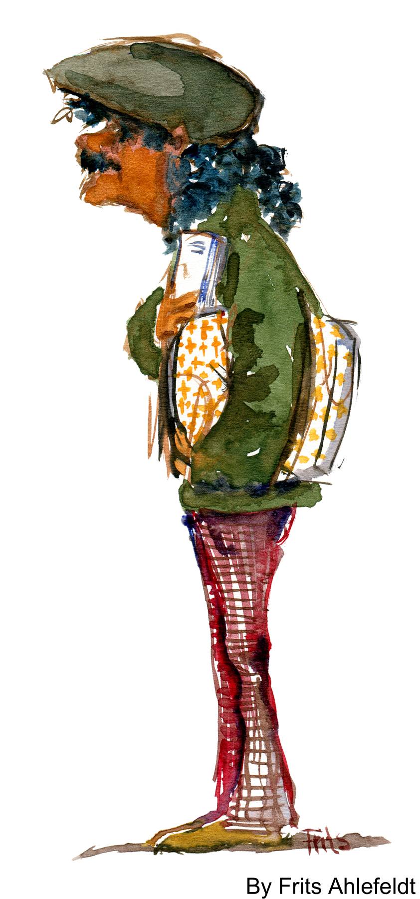 Latino looking guy with bag. Watercolor