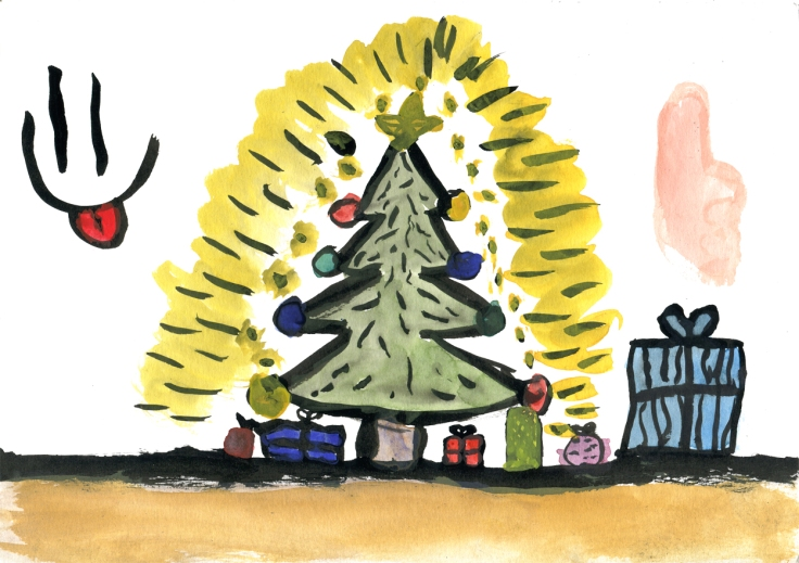 Christmas tree drawing by Freja