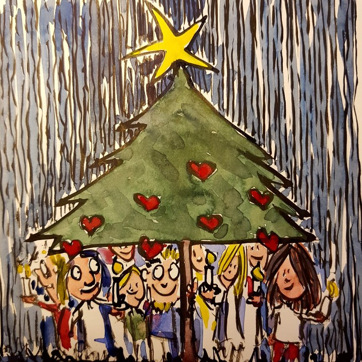 illustration of a group of people finding shelter under a Christmas tree
