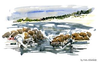 Balka, Bornholm, Denmark. Watercolor