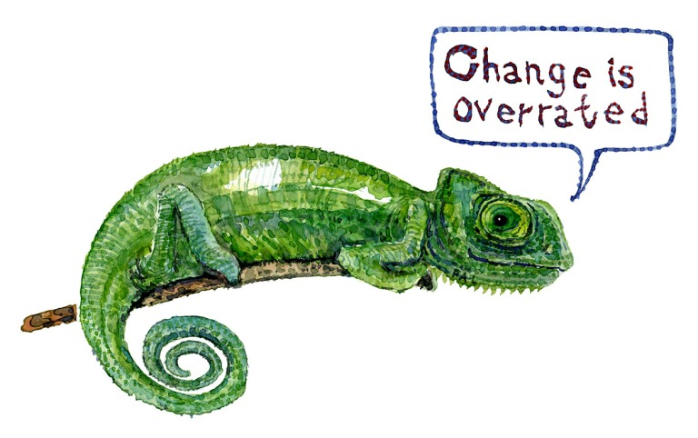 Green chameleon with text bubble, change is overrated. painting by Frits Ahlefeldt