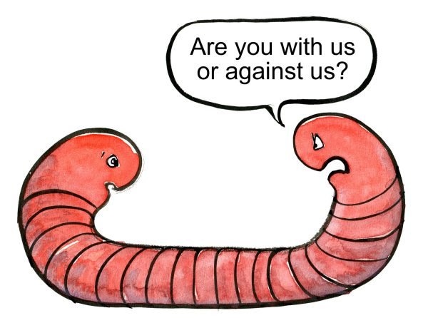 illustration of a worm with two heads, that ask the other head if its for or against us