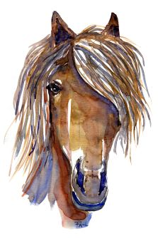 Horse head painting. Watercolor by Frits Ahlefeldt