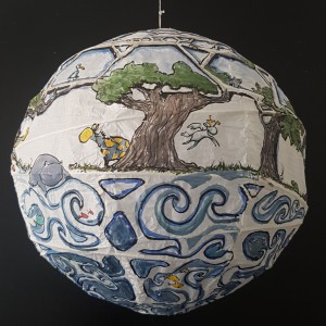 Painting of sphere house by Frits Ahlefeldt, on Rice paper lamp