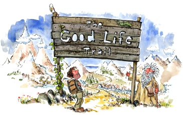 Drawing of a Hiker looking at the Good Life Trail sign