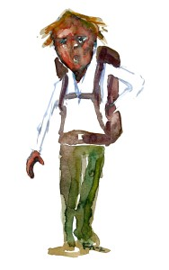 Hiker Watercolor people portrait by Frits Ahlefeldt