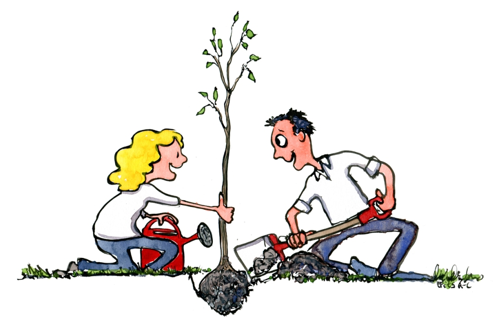 Two people planting a tree together