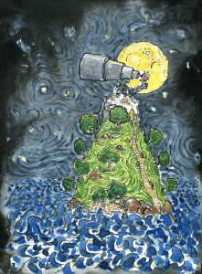 Old Astronomer looking at the stars from an small island