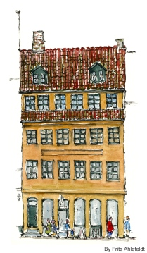 Watercolor from Christianshavn, Copenhagen, Denmark