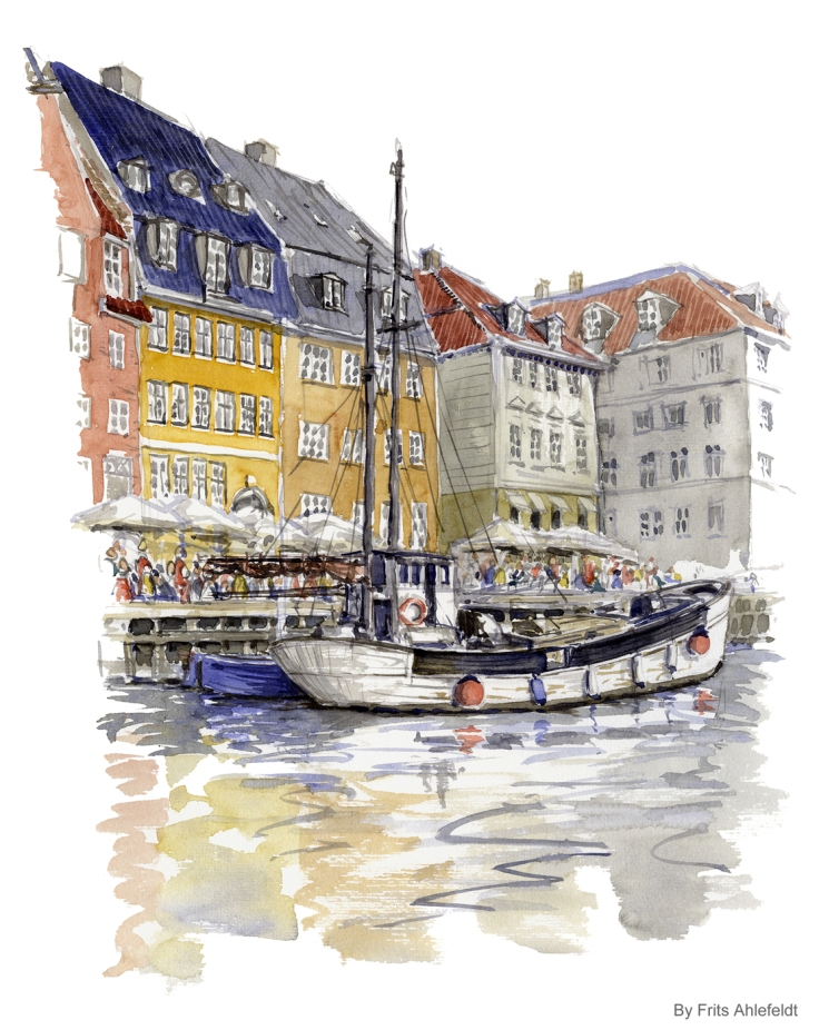 Watercolor from Nyhavn - Copenhagen