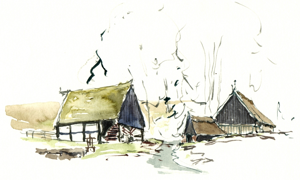 Old houses Bornholm Watercolor