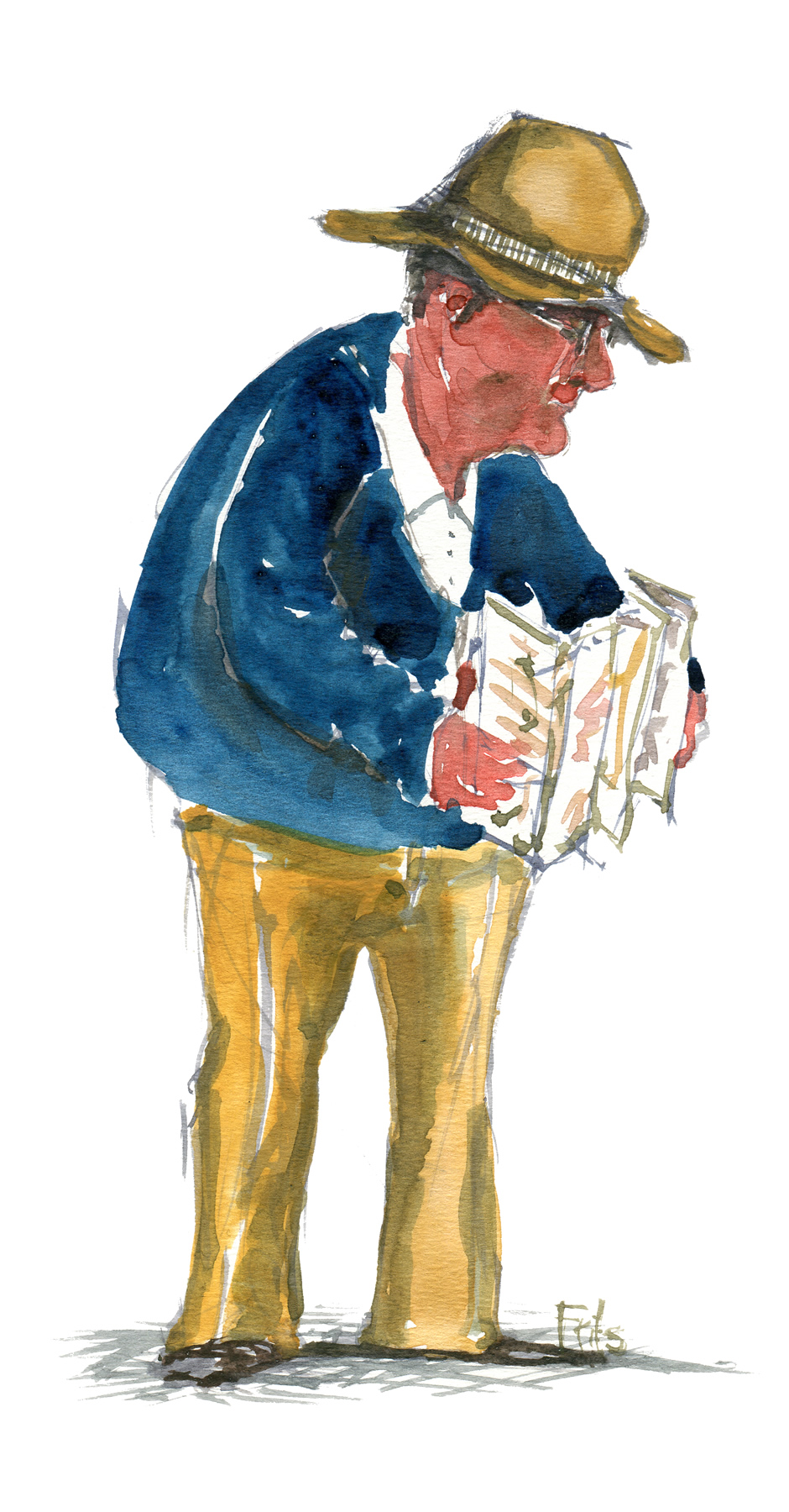 Old tourist reading a map. Watercolor