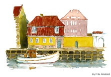 Naval museum, Watercolor from Christianshavn, Copenhagen, Denmark