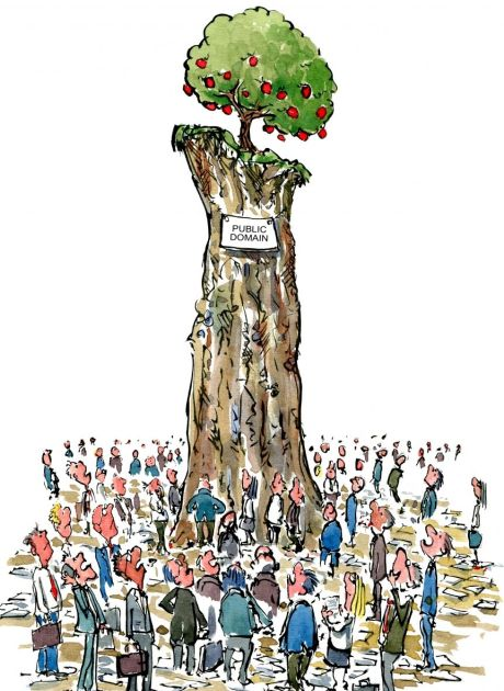 Drawing of businessmen gathering around the last public domain tree