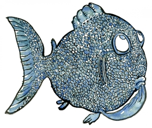 Drawing of a fish thinking