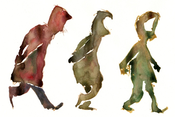 Watercolor of three guys walking
