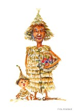man and kid with clothing made of straws Watercolor people portrait by Frits Ahlefeldt