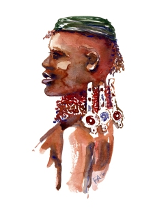 watercolor-portrait-afro-american-tribe-africa-man-artwork-by-frits-ahlefeldt
