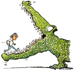 woman walking into the mouth of a monster alligator