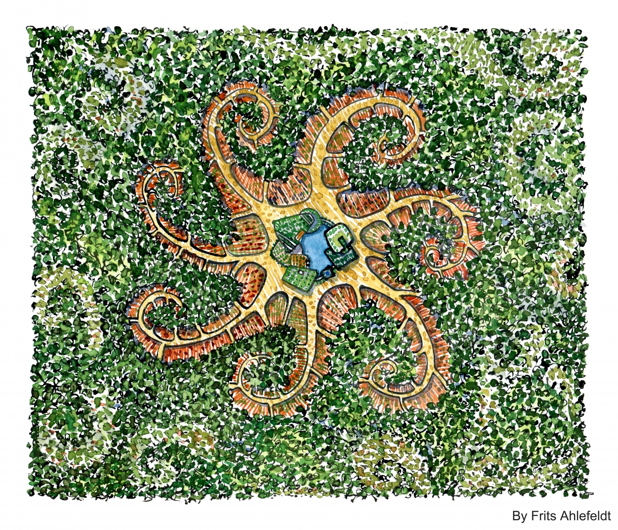 drawing of a starfish shaped forest farm