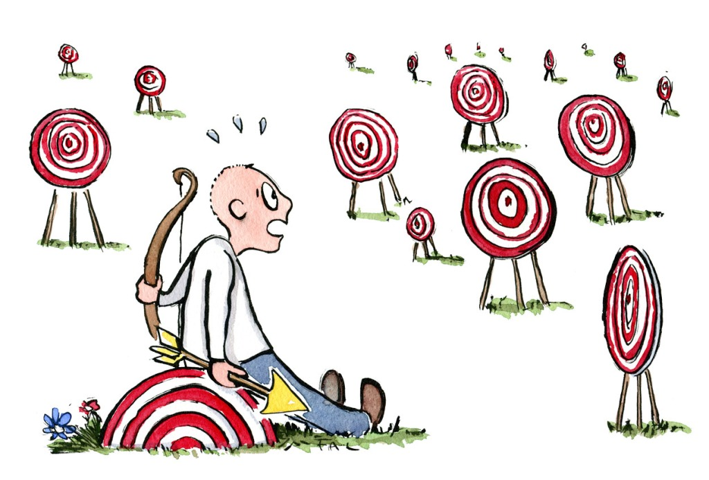 Man sitting in front of a number of targets with a bow and arrow, looking indecisive. Illustration by Frits Ahlefeldt