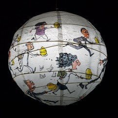Egg Run with egg timer Detail drawing by Frits Ahlefeldt on Rice paper lamp