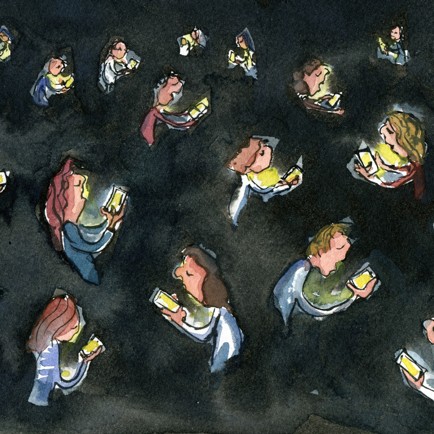 Group of people in dark with phones lightning up their faces. illustration by Frits Ahlefeldt