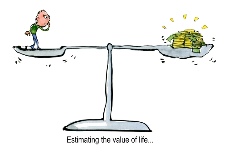 Drawing of a man on a scale, with money on the other side