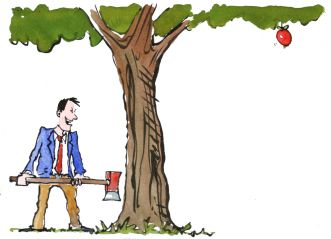 man chopping down a tree to get the fruit illustration