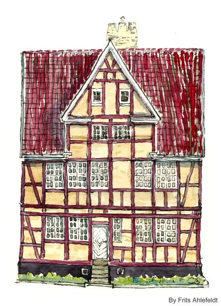 Watercolor from Christianshavn, Copenhagen, Denmark