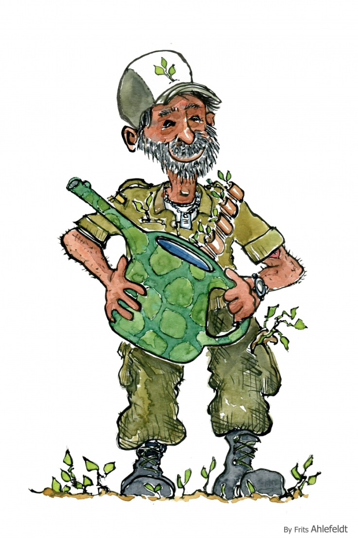 drawing of a warrior turned into an organic farmer