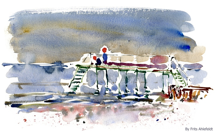 Watercolor of two girls on a bridge out over the sea
