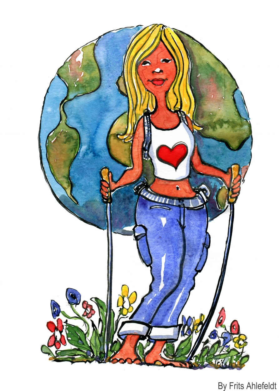 Drawing of a girl with the globe as a backpack