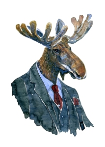 Watercolour of a Moose in suit