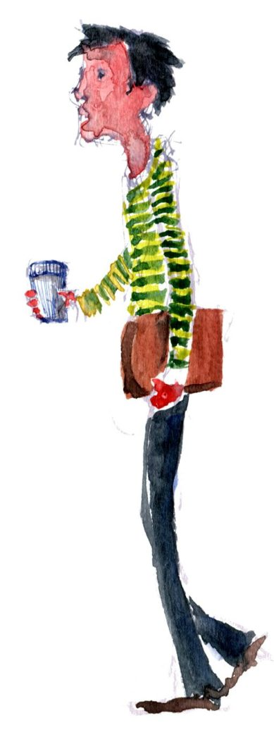 Sketch of a man with a coffee cup, watercolor
