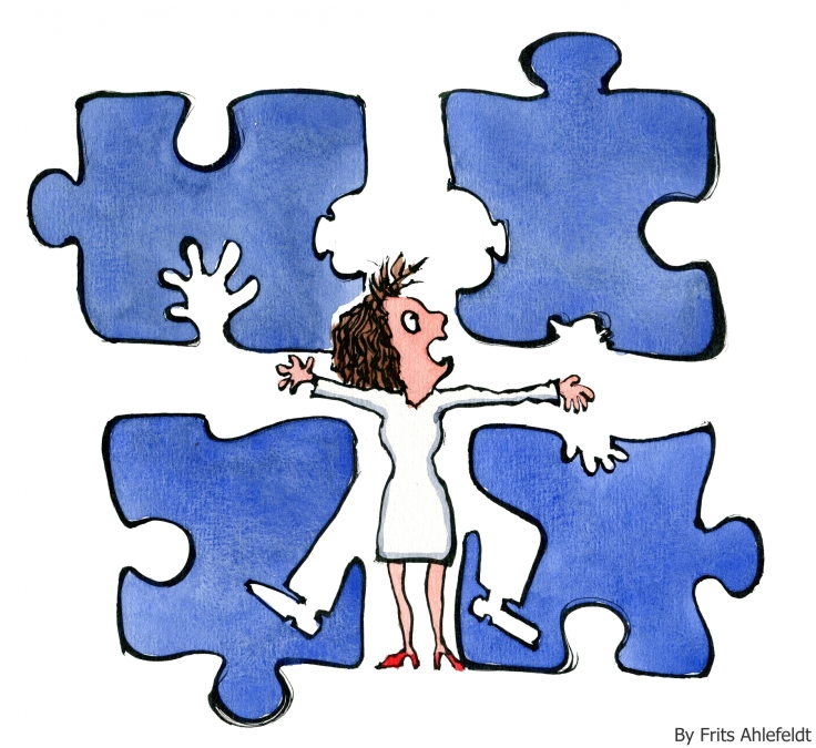 Drawing of a woman in a jigsaw