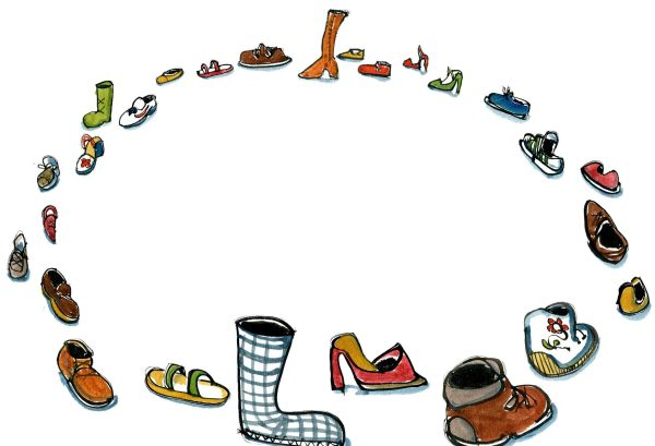 Drawing of a lot of shoes put up in a circle