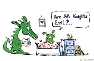 Drawing of a dragon reading a knight story to a little dragon, the little dragon asking if all knights are evil