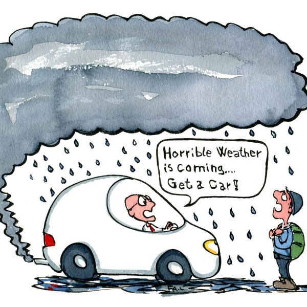 illustration of a man in a car, that makes pollution that becomes heavy rain over a hiker. Get a car the driver advice. illustration by Frits Ahlefeldt