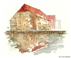 Gammel Dok, Watercolor from Christianshavn, Copenhagen, Denmark