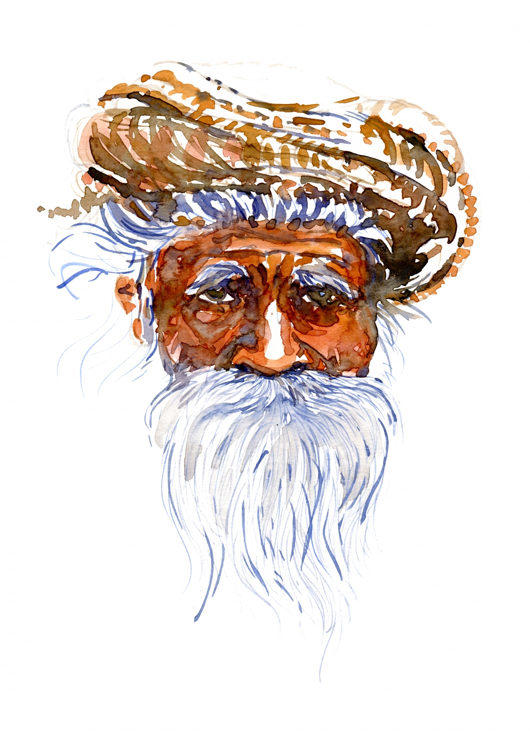 watercolor portrait of an old man