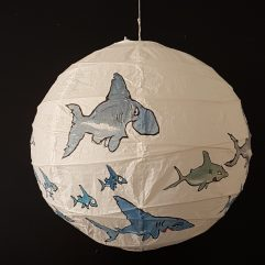 Shark personalities drawing by Frits Ahlefeldt. Artwork on rice paper lamp.