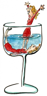 Drawing of two persons in a half filled glass