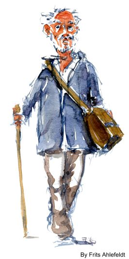 Old pilgrim man with stick. Watercolor