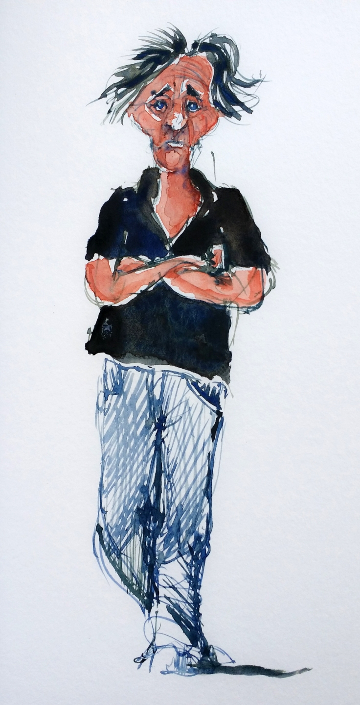 Watercolor of black haired man