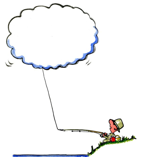 Drawing of a man catching a cloud